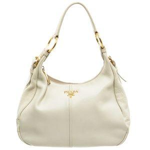Prada White Pebbled Leather Zip Top Hobo Handbag